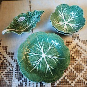 Bordallo Pinheiro Vintage Cabbage Leaf Plate Set 7